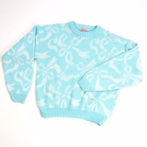 Vintage Spunky   Teal and White Bow Sweater Thick